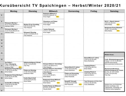 KURSSTUDIO: Herbst-Winter Semester startet ab 14.09.2020