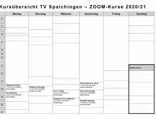 WIR starten ins Fitness-Jahr 2021 – ONLINE-Kursangebot TV Spaichingen über ZOOM